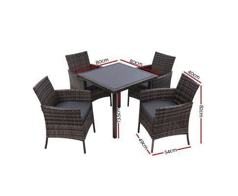 Wicker Outdoor Dining Set Chairs Table Grey 5PCS