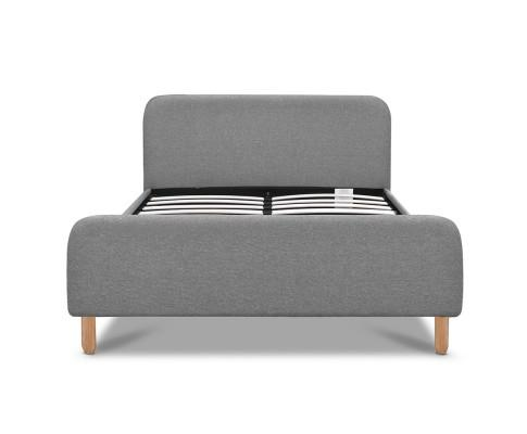 Artiss Grey Linen Frabric Bed Frame Headboard - Evopia