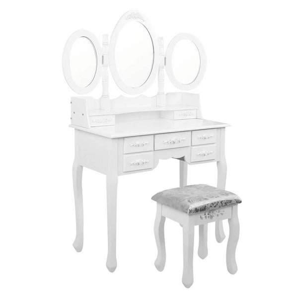 Artiss 7 Drawer Dressing Table with Mirror - White - Evopia