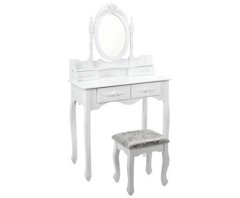 4 Drawer Luxury Rosette Dressing Table w/ Mirror - Stunning White