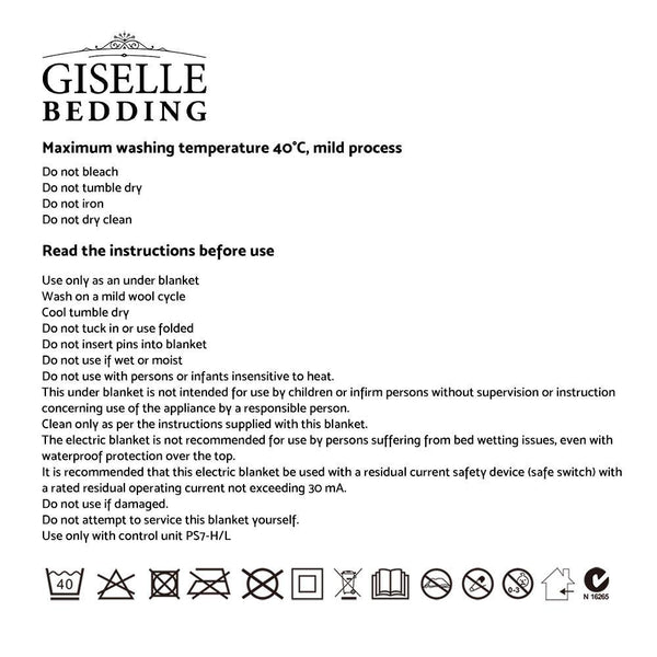 GISELLE ELECTRIC BLANKET 9 HEAT SETTING