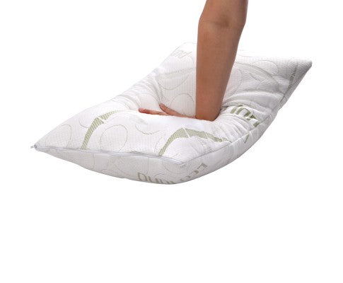Set of 2 Bamboo Fabric Cover Shredded Memory Foam Pillow 70 x 40 cm - Evopia