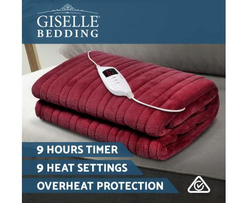 Giselle Bedding Burgundy Electric Throw Blanket - Evopia