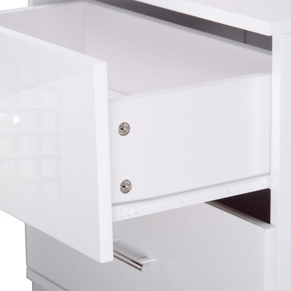 Artiss High Gloss Two Drawers Bedside Table - White - Evopia