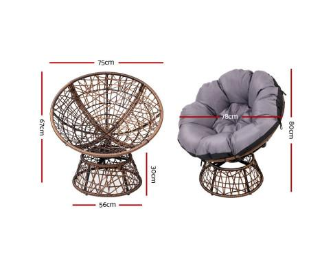 Gardeon Papasan Outside Chairs and Table Set Brown - Evopia