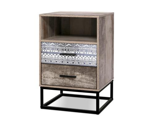 Artiss Industrial Wooden Bedside Table Drawers Cabinet Unit - Evopia
