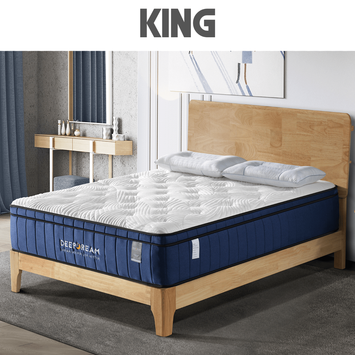 Cool Gel Memory Foam Mattress 5 Zone Latex 34cm - King - Evopia
