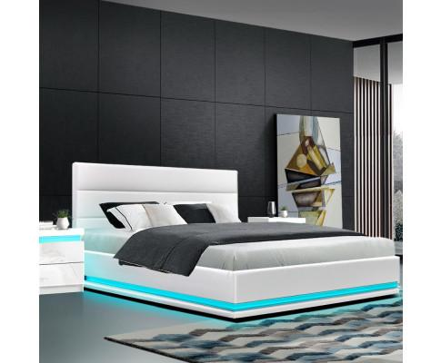 Lumi Gas Lift King Size LED Lights Bed White Leather - Evopia