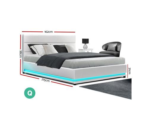 Dimensions of Lumi Led lighting Queen Bed Frame Gas Lift White Leather | Evopia.com.au