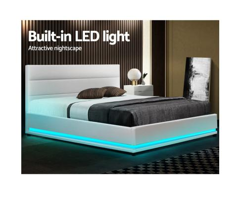 Lumi Led lighting Queen Bed Frame Gas Lift White Leather - Evopia