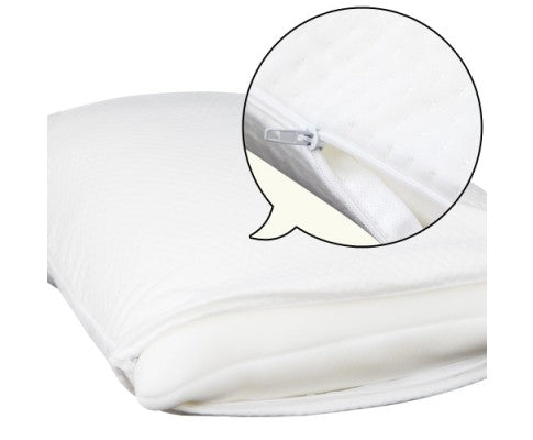 showing removable cover on memory foam pillows