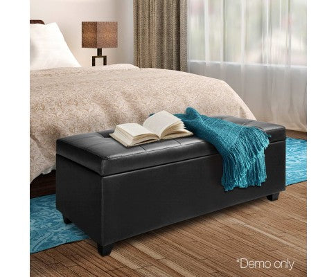 Large Ottoman PU Leather Chest Storage Box Foot Stool Black - Evopia