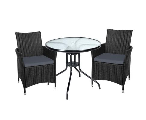 Gardeon Outdoor Seating Chair Table Bistro Set Wicker - Evopia