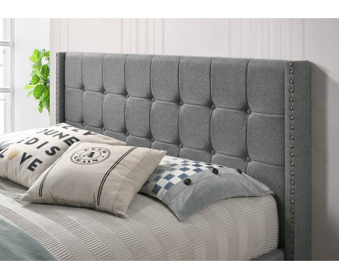 WINGED FABRIC GAS LIFT STORAGE BED - GREY