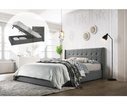 WINGED FABRIC BED FRAME WITH GAS LIFT STORAGE - GREY - QUEEN SIZE