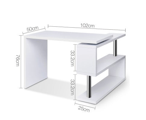 Rotary Corner Desk with Bookshelf - White - Evopia