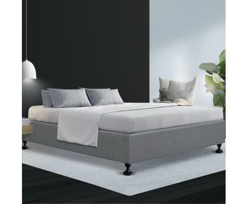 Artiss Tomi Bed Base Frame Platform Fabric Wooden Grey - Evopia