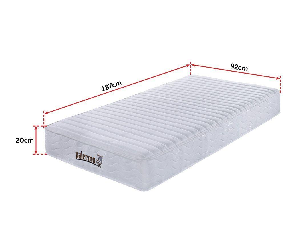 Palermo Contour 20cm Encased Coil Single Mattress CertiPUR-US Certified Foam