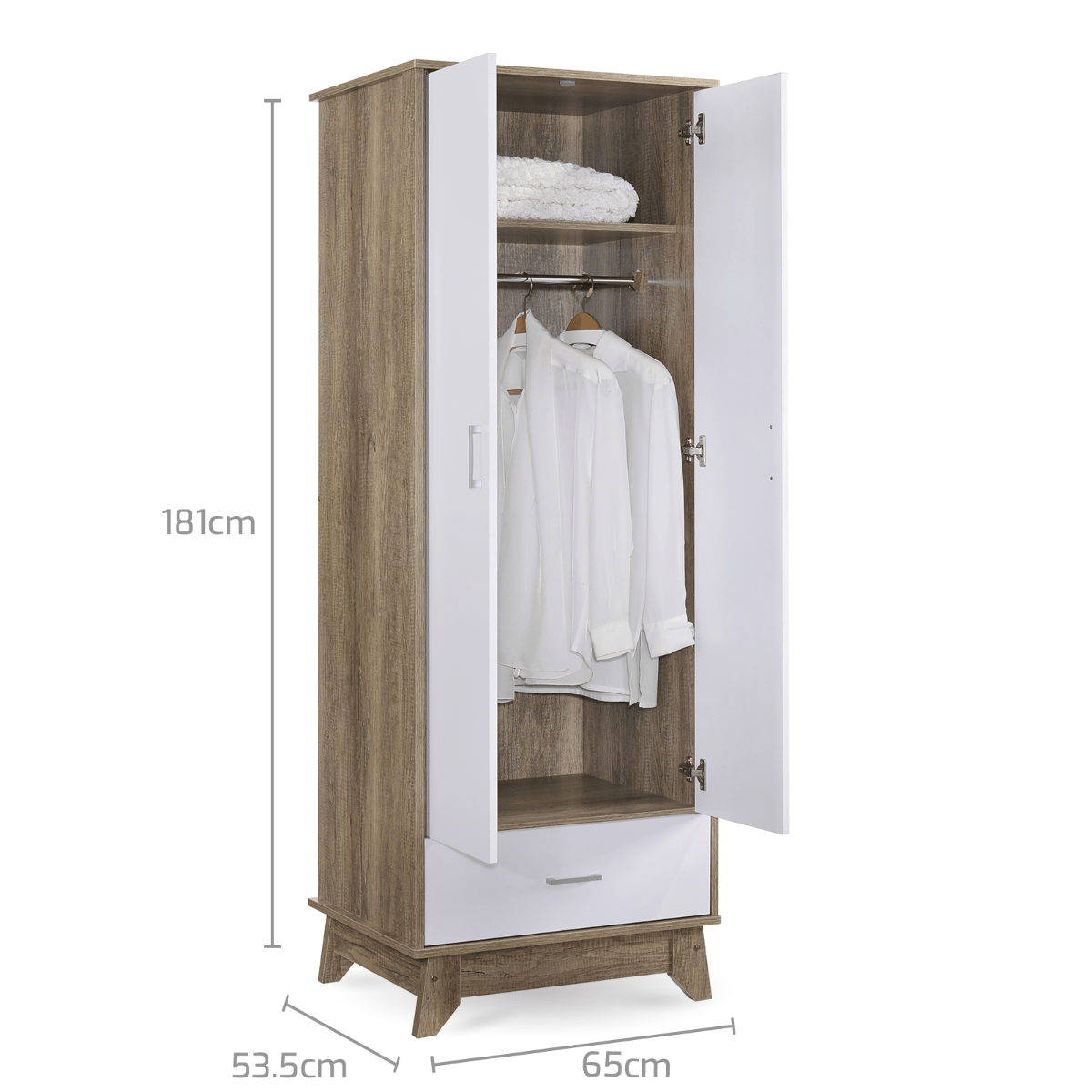 2 Door Wardrobe w/ Drawer Oak - Evopia