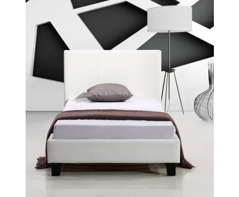 Front look of Palermo White PU Leather Bed Frame Single