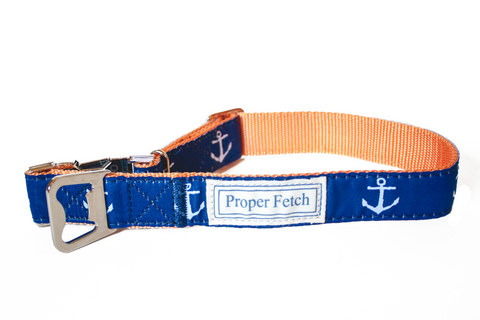 preppy anchor dog collar with bottle opener by Proper Fetch