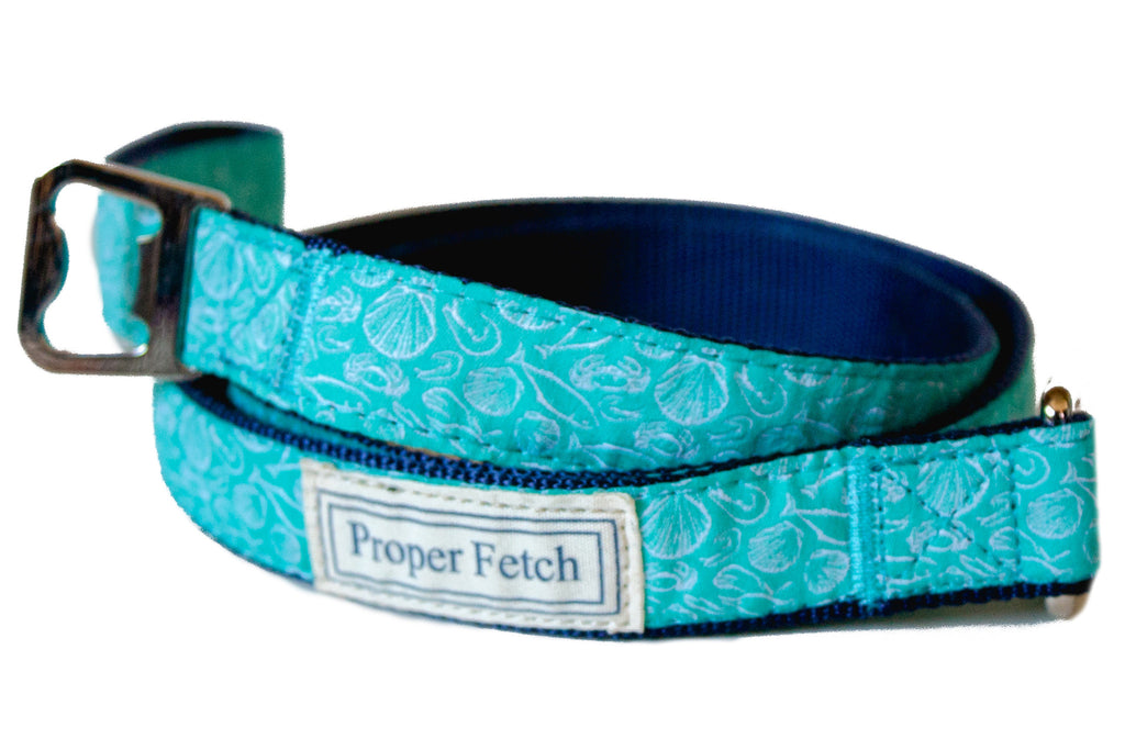 preppy beach aqua dog leash by proper fetch