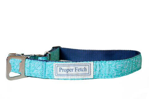 Beach theme aqua dog collar with bottle opener