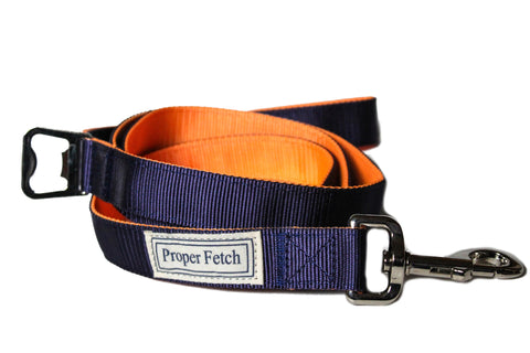 Navy on Orange nylon leash with bottle opener by Proper Fetch