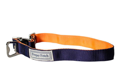 Navy on Orange nylon dog collar with bottle opener by Proper Fetch