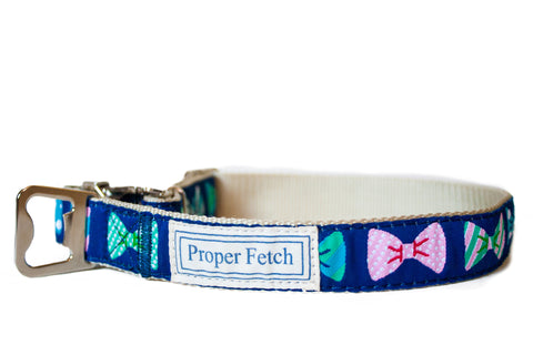 Preppy bow tie dog collar with bottle opener