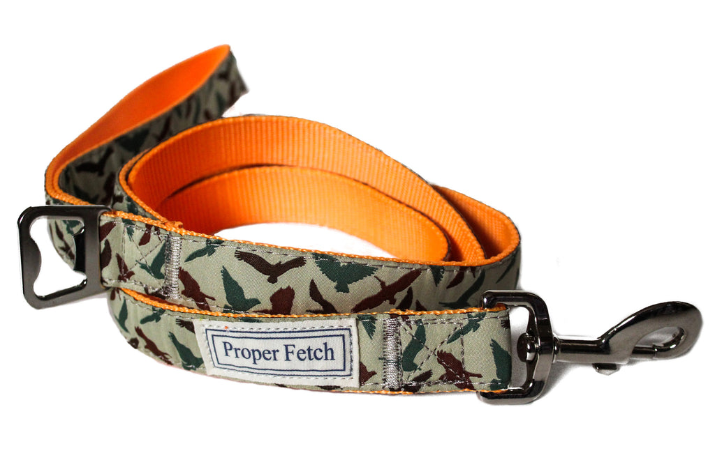 Camo nylon dog leash with bottle opener by Proper Fetch