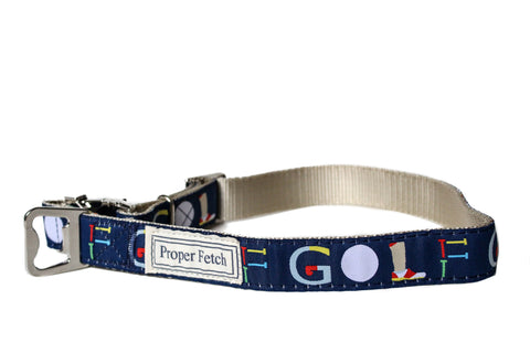 Golf nylon dog collar with bottle opener by Proper Fetch
