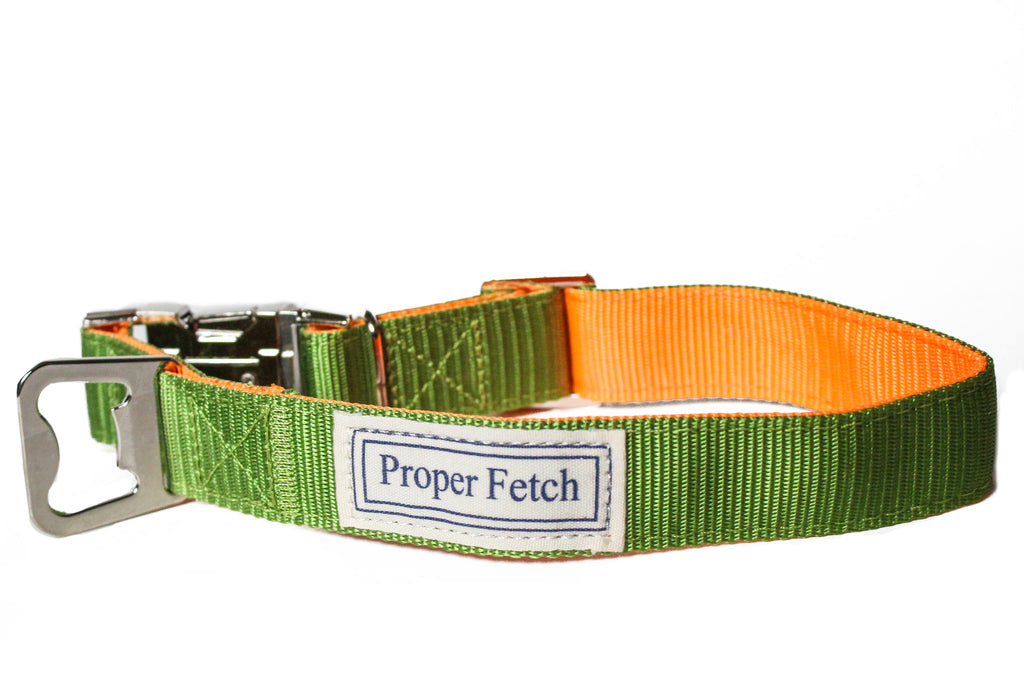 Green and Orange nylon dog collar with bottle opener by Proper Fetch