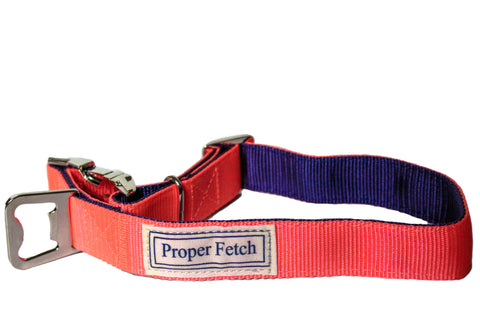 Salmon on navy nylon dog collar with bottle opener