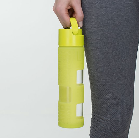 Cute gym accessories: lululemon glass water bottle