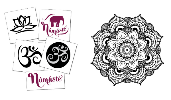 Inspirational yoga temporary tattoos