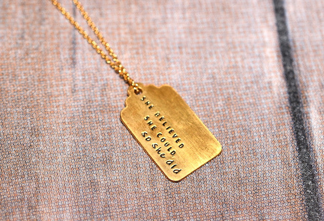 Motivational Gold Plated Tag Necklace - Trailer Boutique
