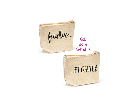 Coin Purse Set - Fearless & FIGHTER - Set of 2 Bags, 1 of Each Design