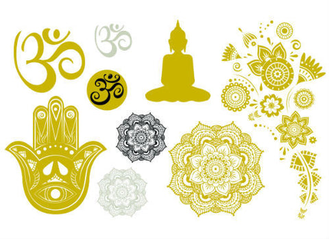 Metallic Yoga Temporary Tattoos - Trailer Boutique