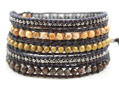 Leather Wrap Bead Bracelet - Naughty Black