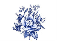 Dark Blue Vintage Flower Tattoo - Trailer Boutique