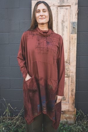 7229 Cowl Dress with Pockets-Nepal-Butterfly Maps