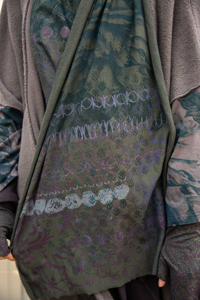 8002 Handprinted Blue Fish Scarf Black Olive Drab-P