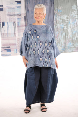 L594-Oversized Square Linen Top-Summer Blue-P