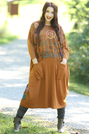 2303 Cotton Bamboo Mariposa Dress-Amber