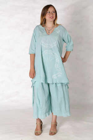 2300 Flounced Bliss Tunic-Mint-Printed
