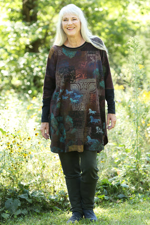 2251 Natural City Tunic -Burnt Sugar -'Antediluvian Garden'
