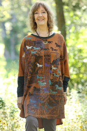2251 Natural City Tunic- Amber  -Abstract Grotto