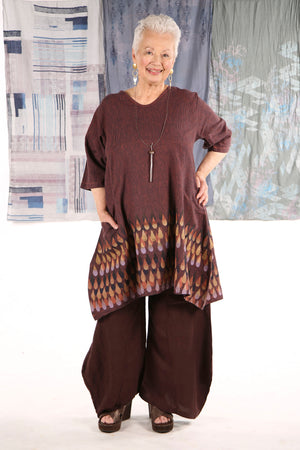 2257 Striped Zen Tunic Saffron Printed