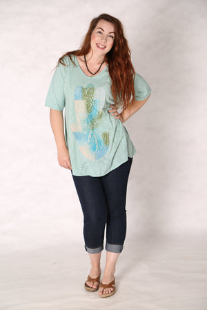 1211 Lightweight A-Line Layer Tee Mint-P